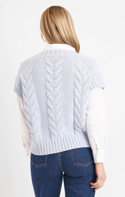 Boomerang - LUN BOOMWOOL CABLE VEST - Pale blue