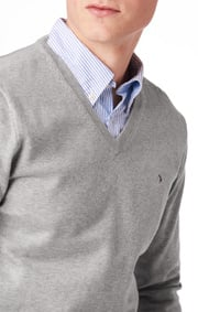 Boomerang - Erland v-neck sweater - Lt grey melange