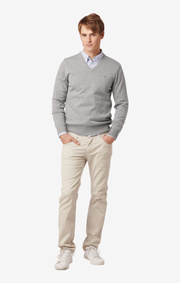 ERLAND V-NECK SWEATER Lt grey melange