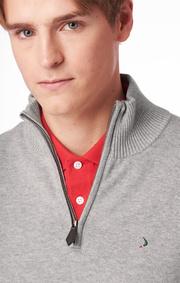Boomerang - Foreman half zip sweater - Lt grey melange