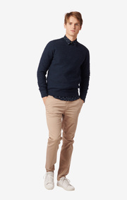 UNO UNEAVEN COTTON CREW SWEATER