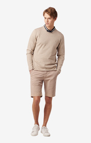 OLIVER ROLL EDGE O-NECK SWEATER Beige