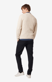 ELIAS LEGACY CABLE O-NECK SWEATER Pannacotta