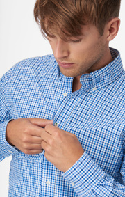 TWO COLOUR GINGHAM POPLIN SHIRT REGULAR FIT BD