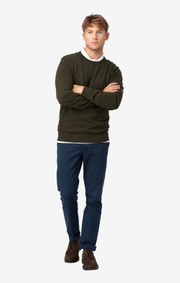 COTTON CASHMERE CREW NECK SWEATER