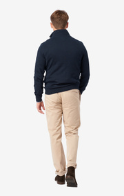 COTTON CASHMERE HALF ZIP SWEATER