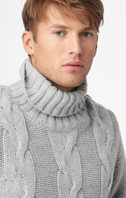 Boomerang - Cable roll neck sweater - Grey melange
