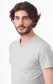 Boomerang - Jarl v-neck t-shirt - Lt grey melange