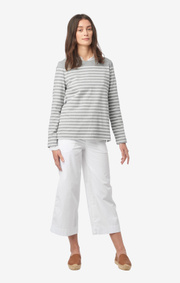 Boomerang - MALVA STRIPED JERSEY TOP - Lt grey melange