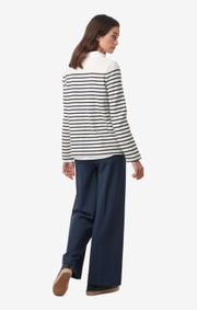 Boomerang - Malva striped jersey top - Offwhite