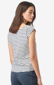 Boomerang - Frejus striped piqué top - Offwhite