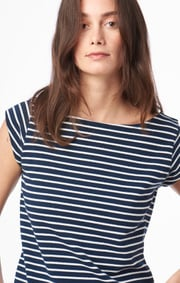 Boomerang - FREJUS STRIPED PIQUÉ TOP - Midnight blue
