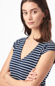 Boomerang - BELLA PIQUE DRESS STRIPE - Midnight blue