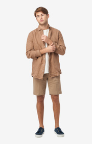 Boomerang - LINUS LINEN T.A. FIT CUT AWAY SHIRT - Otter