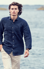 Boomerang - LINUS LINEN T.A. FIT CUT AWAY SHIRT - Blue nights