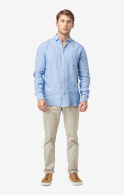 Boomerang - LINUS LINEN T.A. FIT CUT AWAY SHIRT - Light indigo