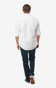 Boomerang - Linus linen t.a. fit cut away shirt - White