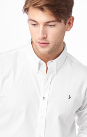 Boomerang - Nisse org. cot. stretch slim fit b.d. shirt - White