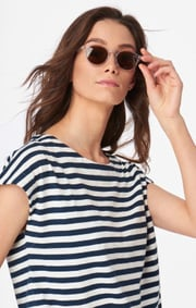 Boomerang - ALBA STRIPED TOP - Midnight blue