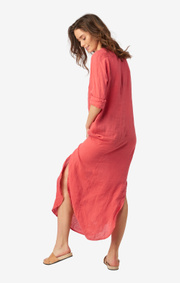 Boomerang - BÅSTAD LINEN DRESS - Faded red