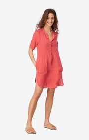 Boomerang - BETTY LINEN DRESS - Faded red