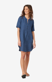 Boomerang - BETTY LINEN DRESS - Dark Indigo