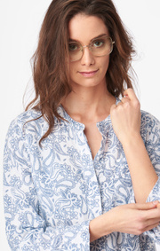 Boomerang - BÅSTAD PRINTED LINEN DRESS - Crown blue