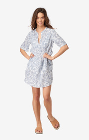 Boomerang - BETTY PRINTED LINEN DRESS - Crown blue