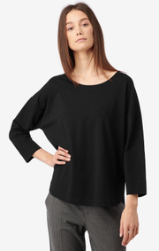 Boomerang - GRETA INTERLOCK TOP - Black