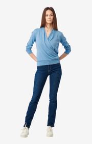 Boomerang - Saga wrap sweater  - Blue dusk