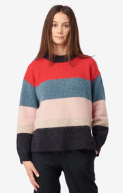 Boomerang - PETRA STRIPE O-NECK SWEATER - Postbox red
