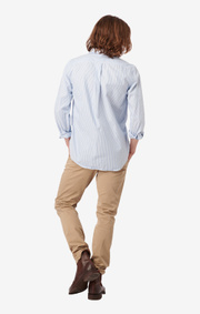 Boomerang - NILS ORG. COTTON STRIPE OXFORD T.A. FIT B.D. SHIRT - Ice blue