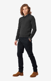 Boomerang - SIMON COTTON CASHMERE POLO SWEATER - Dk grey mela