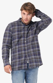 Boomerang - Chuck flanel shirt tailored fit - Midnight blue