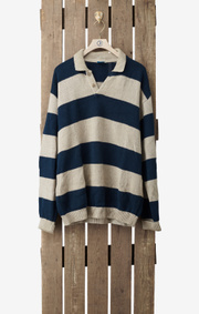 Boomerang - STRIPED POLO SWEATER - Putty