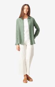 Boomerang - Lina linen shirt - Venetian green