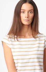 Boomerang - Frejus striped piqué top - Khaki beige