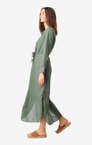 Boomerang - Båstad linen dress - Venetian green