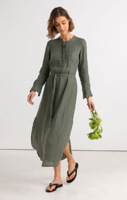 Boomerang - BÅSTAD LINEN DRESS - Venetian green