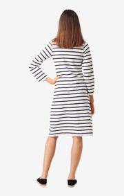 Boomerang - Blenda piqué stripe dress  - Offwhite