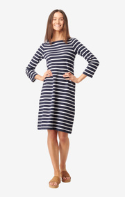 Boomerang - Blenda pique stripe dress - Midnight blue