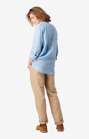 Boomerang - Linus linen shirt tailored fit - Light indigo