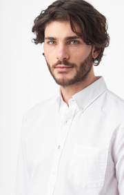 Boomerang - Nils solid shirt tailored fit - White