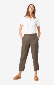 Boomerang - GRETA LINEN TROUSER - Taupe solid