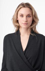 Boomerang - sarali wrap sweater - Dk grey mela