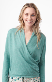 Boomerang - SARALI WRAP SWEATER - Pond green