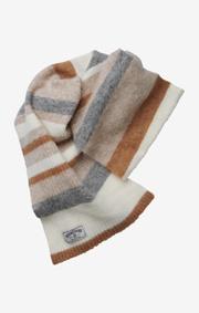 Boomerang - fluff striped scarf - Dk grey mela