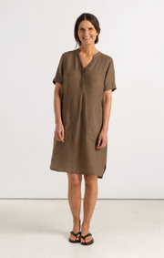 Boomerang - BETTAN LINEN DRESS - Taupe solid