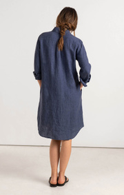 Boomerang - BEA LINEN DRESS - Dark Indigo