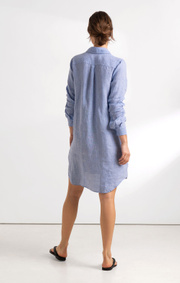 Boomerang - BEA LINEN DRESS - Cloud blue